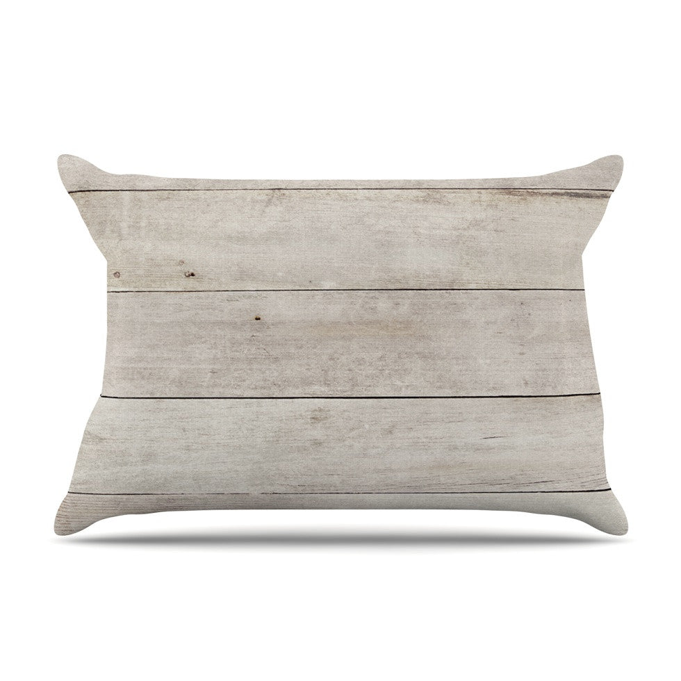 "Susan Sanders ""White Wash Wood"" Beige White Pillow Sham - KESS InHouse"