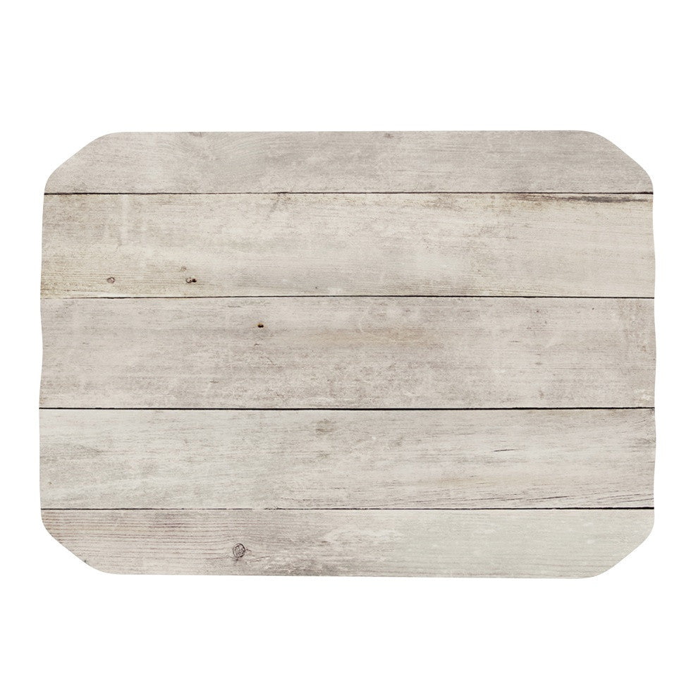"Susan Sanders ""White Wash Wood"" Beige White Place Mat - KESS InHouse"