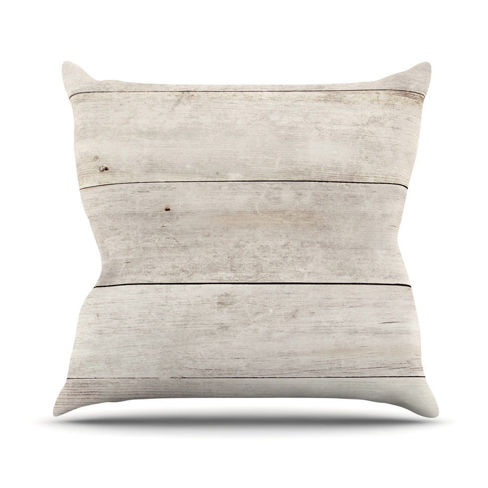 "Susan Sanders ""White Wash Wood"" Beige White Outdoor Throw Pillow - KESS InHouse  - 1"