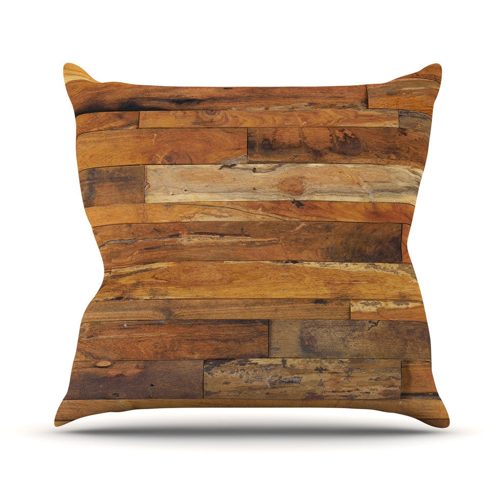 "Susan Sanders ""Woodstock"" Brown Tan Outdoor Throw Pillow - KESS InHouse  - 1"