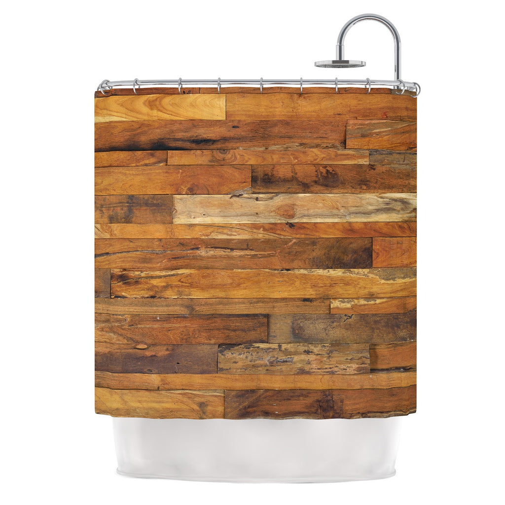 "Susan Sanders ""Woodstock"" Brown Tan Shower Curtain - KESS InHouse"