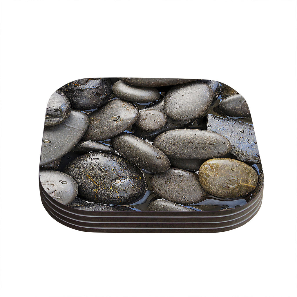 "Susan Sanders ""Skipping Stone"" Gray Rocks Coasters (Set of 4)"