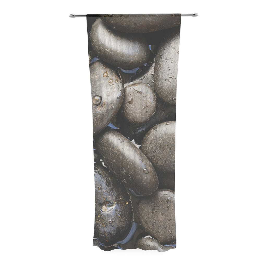 "Susan Sanders ""Skipping Stone"" Gray Rocks Decorative Sheer Curtain - KESS InHouse"