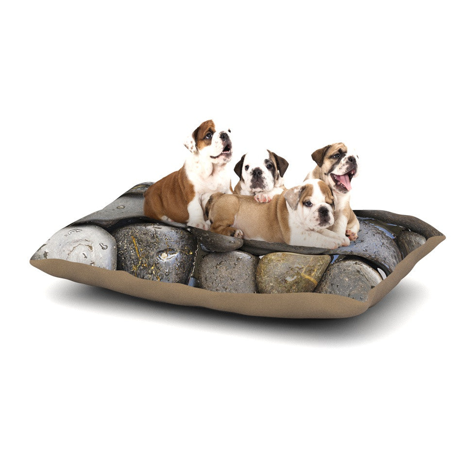 "Susan Sanders ""Skipping Stone"" Gray Rocks Dog Bed - KESS InHouse  - 1"