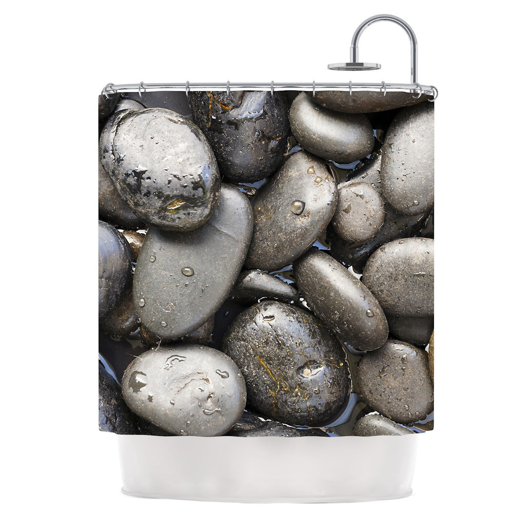 "Susan Sanders ""Skipping Stone"" Gray Rocks Shower Curtain - KESS InHouse"