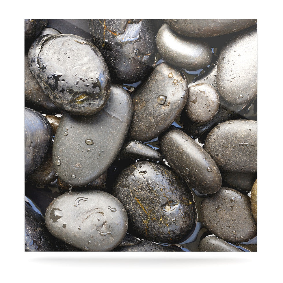 "Susan Sanders ""Skipping Stone"" Gray Rocks Luxe Square Panel - KESS InHouse  - 1"
