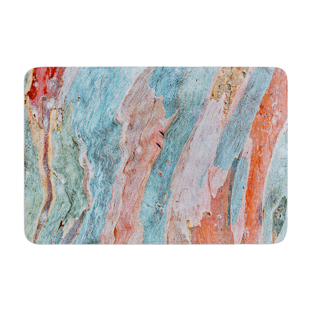 "Susan Sanders ""Beach Dreams"" Orange Blue Memory Foam Bath Mat - KESS InHouse"