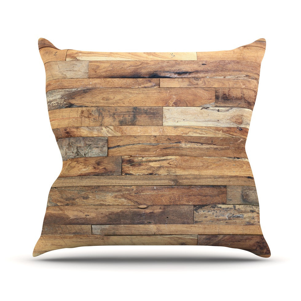 "Susan Sanders ""Campfire Wood"" Rustic Outdoor Throw Pillow - KESS InHouse  - 1"