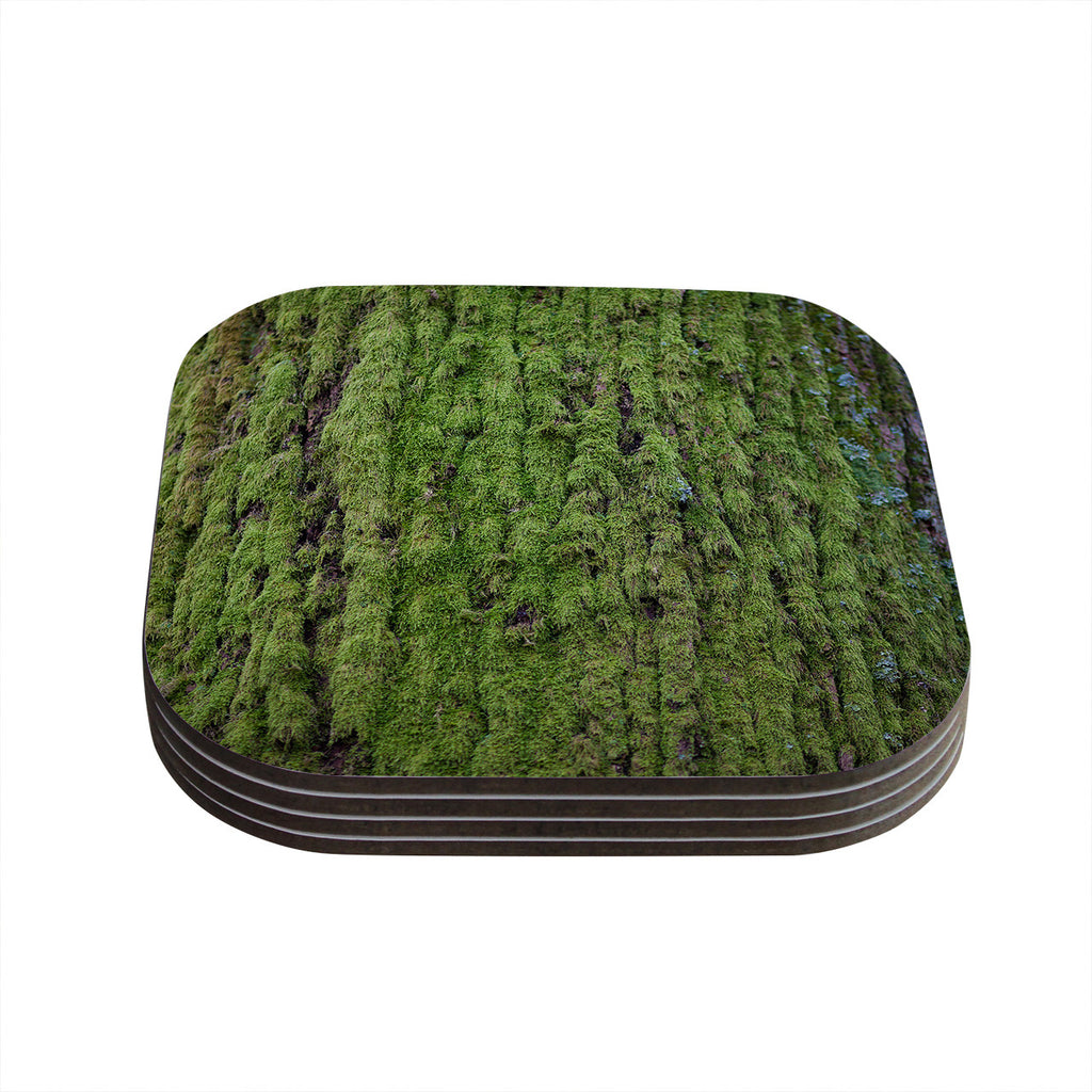 "Susan Sanders ""Emerald Moss"" Green Nature Coasters (Set of 4)"