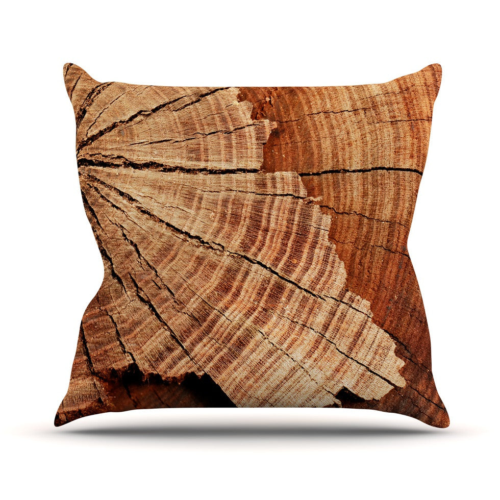 "Susan Sanders ""Rustic Dream"" Brown Wood Throw Pillow - KESS InHouse  - 1"
