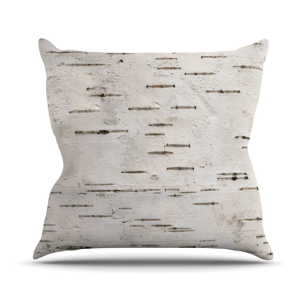 "Susan Sanders ""Painted Tree"" White Rustic Outdoor Throw Pillow - KESS InHouse  - 1"