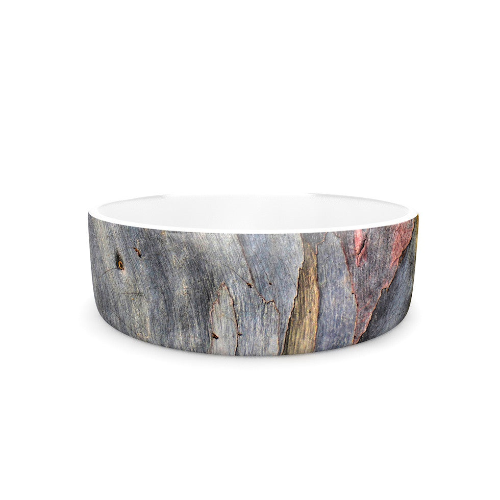 "Susan Sanders ""Milky Wood"" Gray Brown Pet Bowl - KESS InHouse"
