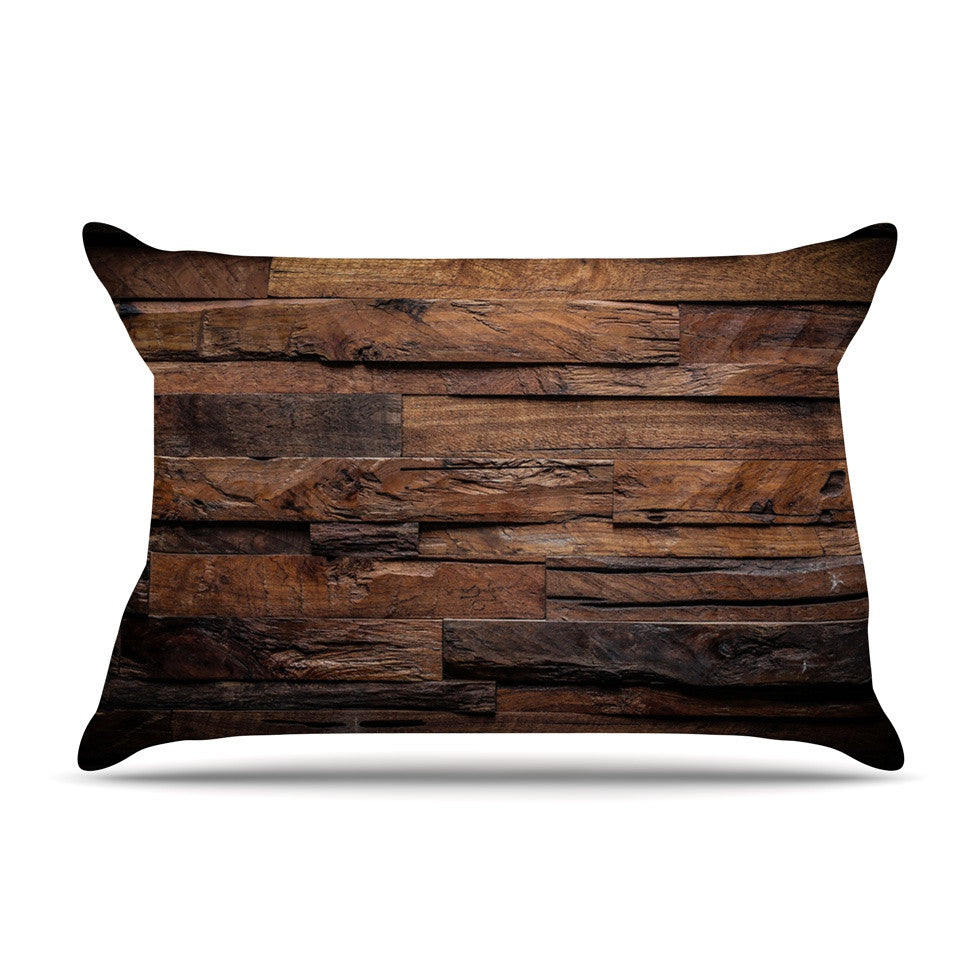 "Susan Sanders ""Espresso Dreams"" Rustic Wood Pillow Sham - KESS InHouse"