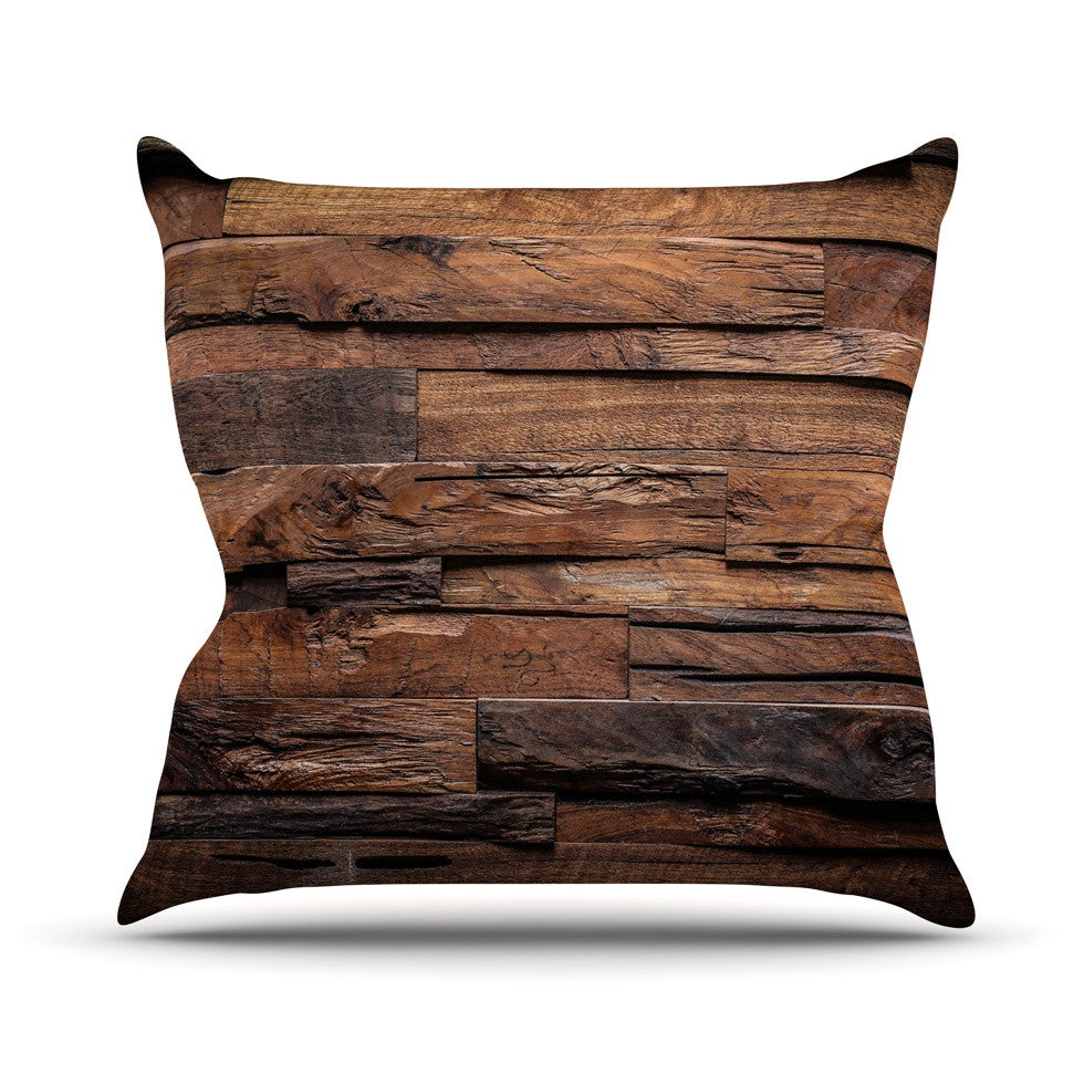 "Susan Sanders ""Espresso Dreams"" Rustic Wood Outdoor Throw Pillow - KESS InHouse  - 1"