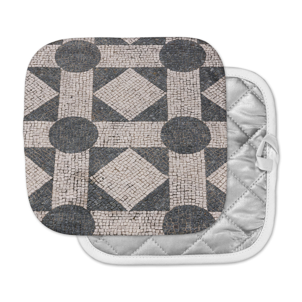 "Susan Sanders ""Mosaic"" Beige Black Pot Holder"