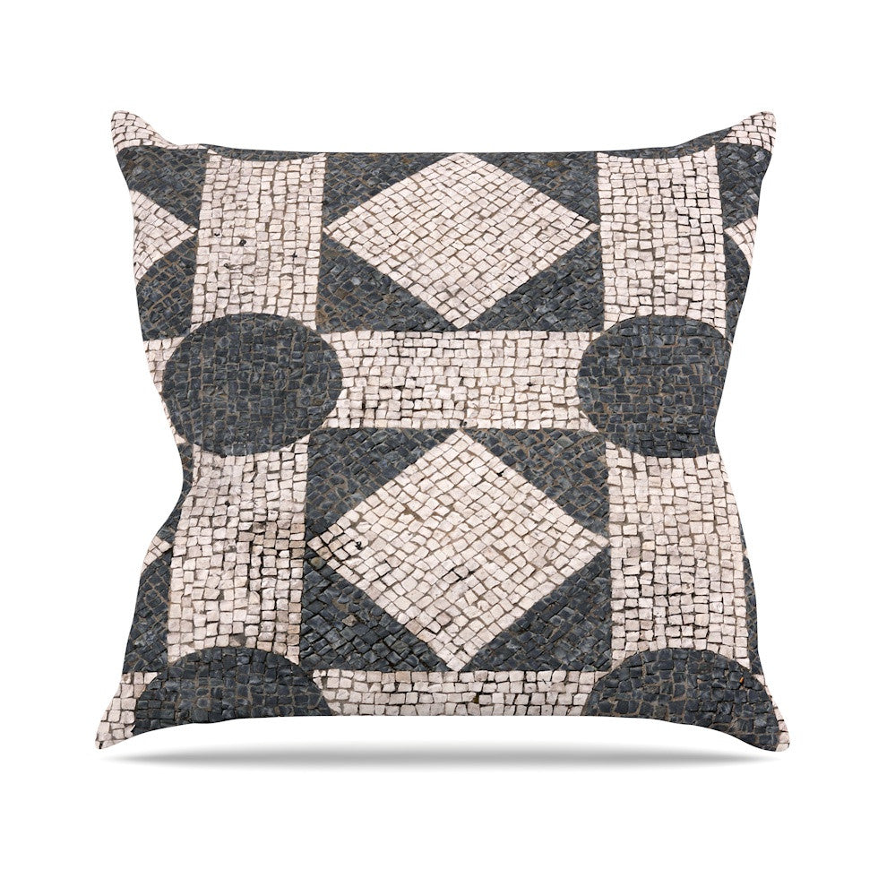 "Susan Sanders ""Mosaic"" Beige Black Throw Pillow - KESS InHouse  - 1"