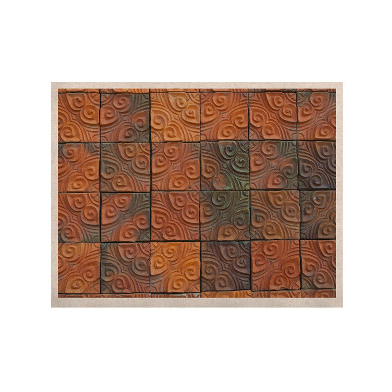 "Susan Sanders ""Whimsy Tile"" Orange Rustic KESS Naturals Canvas (Frame not Included) - KESS InHouse  - 1"