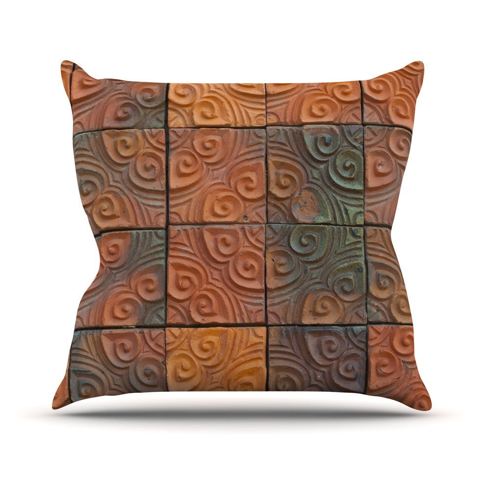 "Susan Sanders ""Whimsy Tile"" Orange Rustic Throw Pillow - KESS InHouse  - 1"