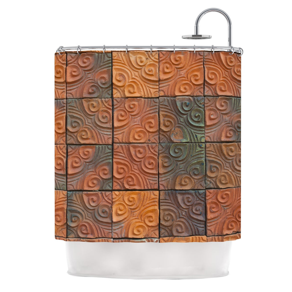 "Susan Sanders ""Whimsy Tile"" Orange Rustic Shower Curtain - KESS InHouse"