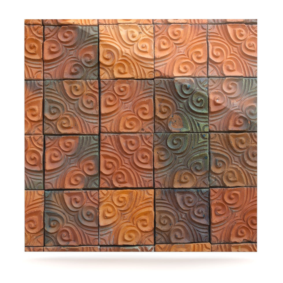 "Susan Sanders ""Whimsy Tile"" Orange Rustic Luxe Square Panel - KESS InHouse  - 1"