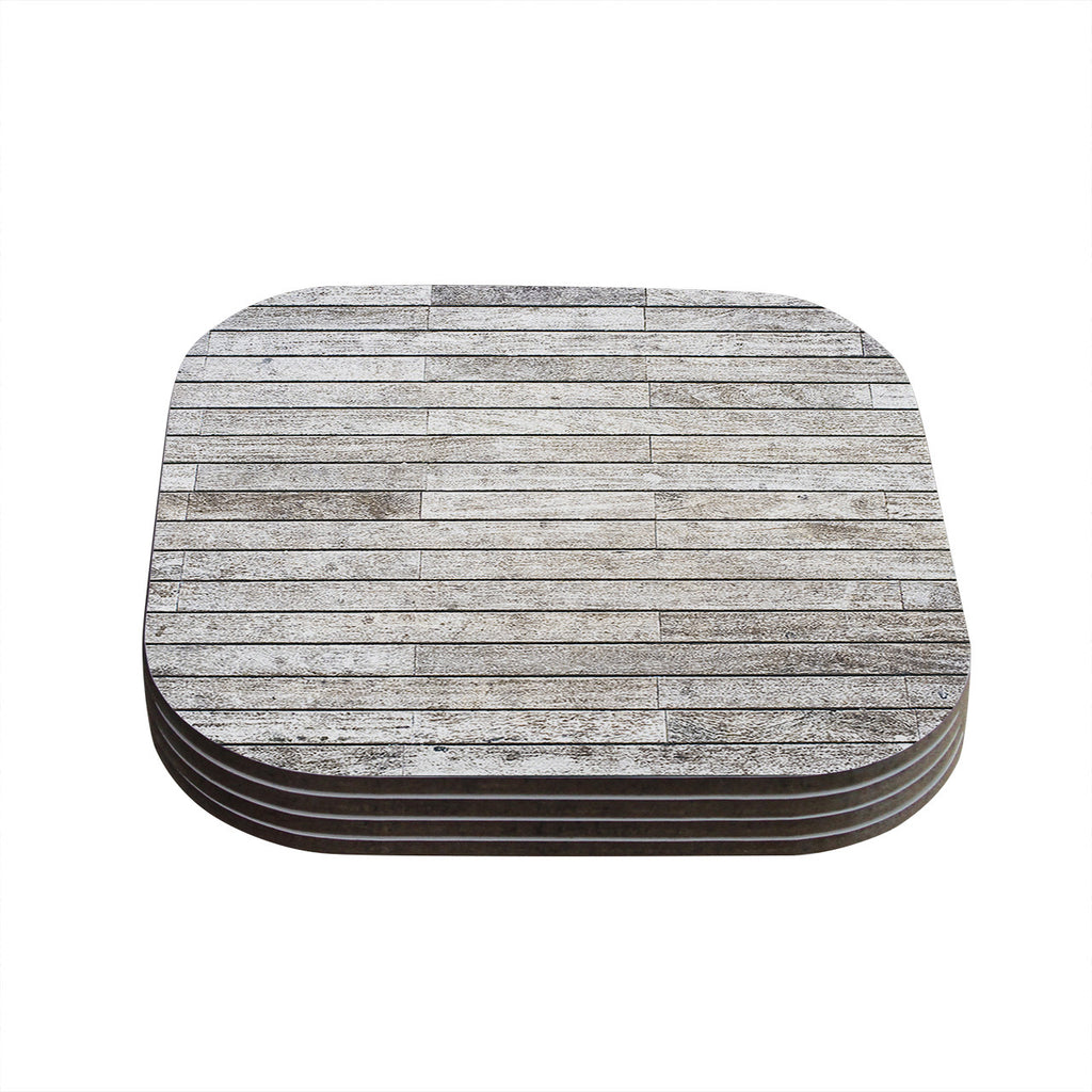 "Susan Sanders ""Wooden Walk"" White Gray Coasters (Set of 4)"