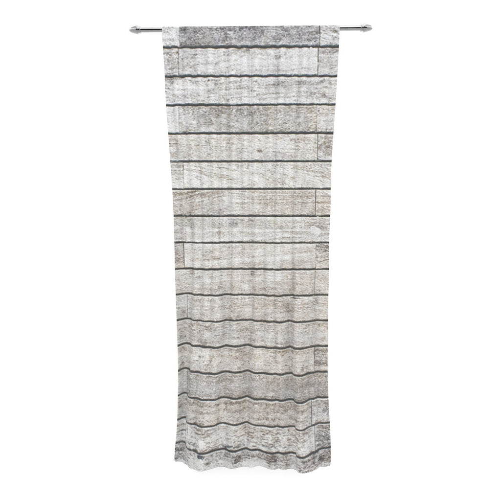 "Susan Sanders ""Wooden Walk"" White Gray Decorative Sheer Curtain - KESS InHouse"
