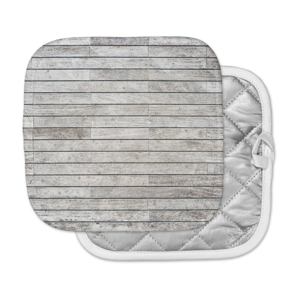 "Susan Sanders ""Wooden Walk"" White Gray Pot Holder"