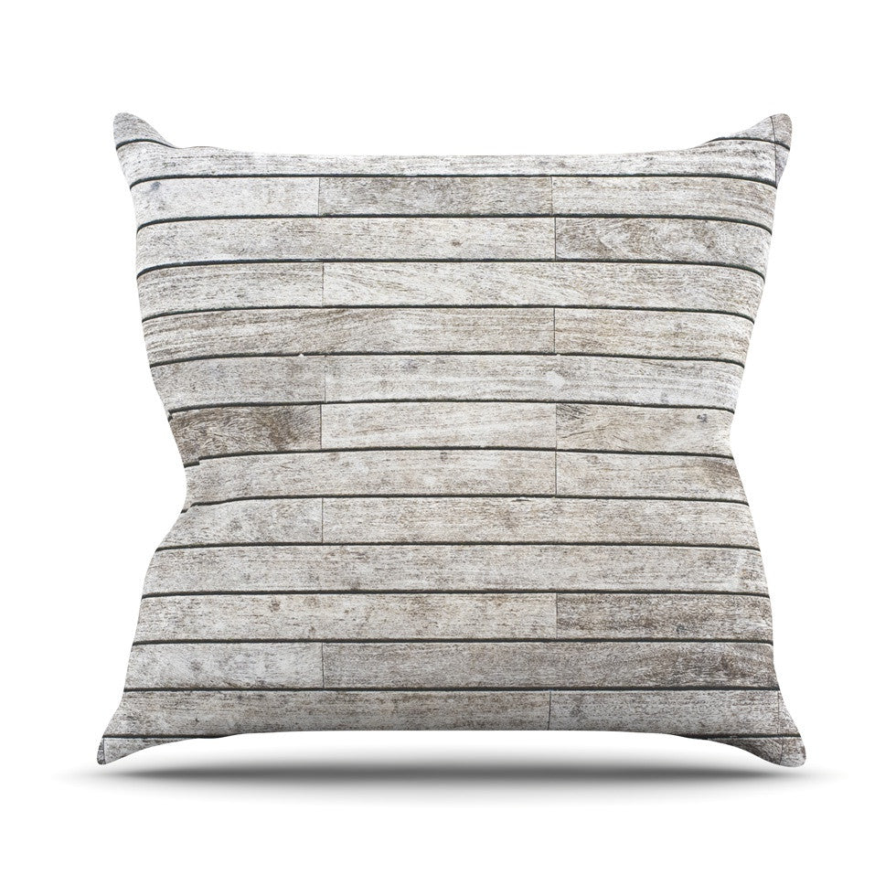 "Susan Sanders ""Wooden Walk"" White Gray Throw Pillow - KESS InHouse  - 1"