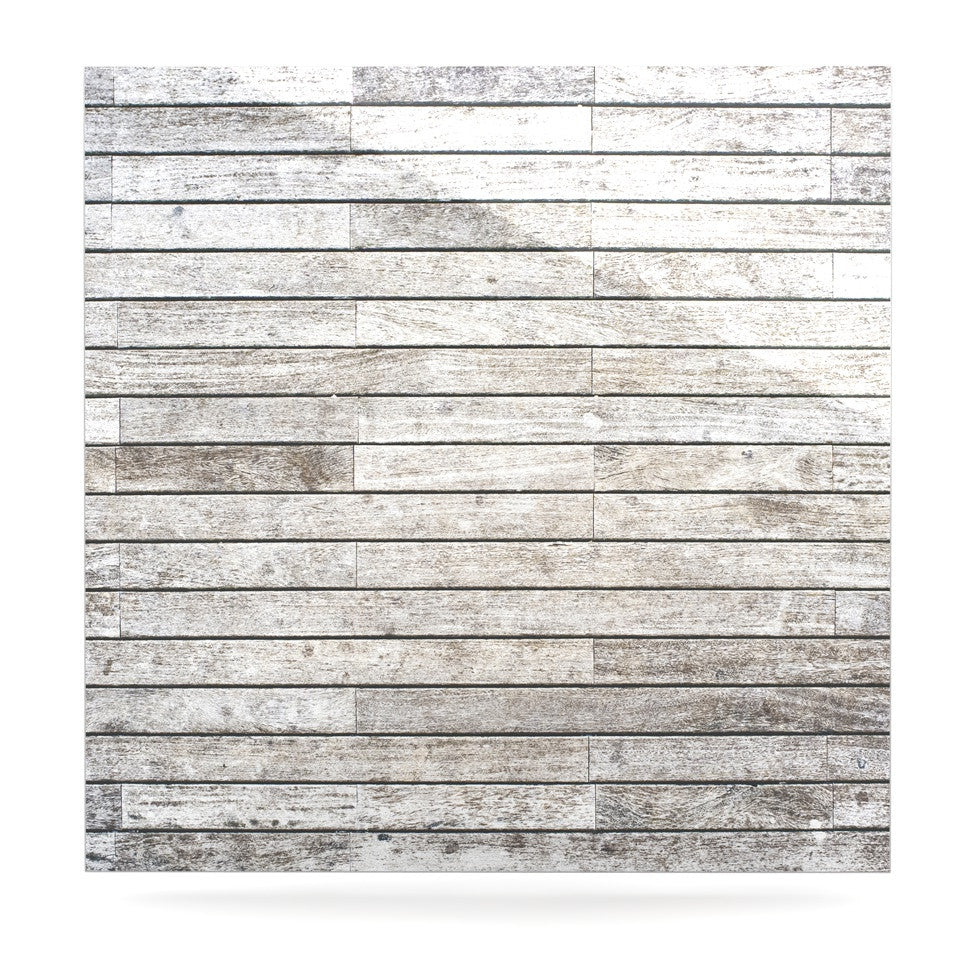 "Susan Sanders ""Wooden Walk"" White Gray Luxe Square Panel - KESS InHouse  - 1"