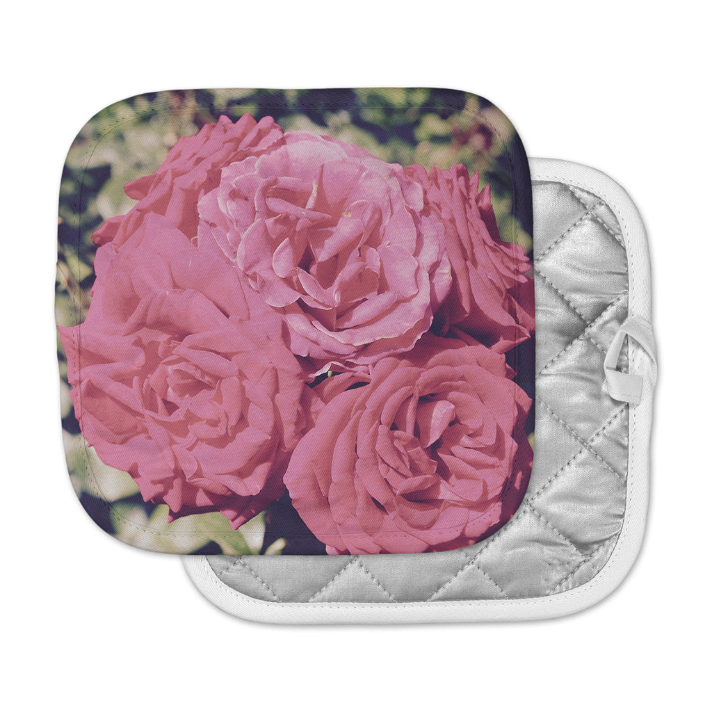 "Susan Sanders ""Blush Pink Blooming Roses"" Floral Photography Pot Holder"
