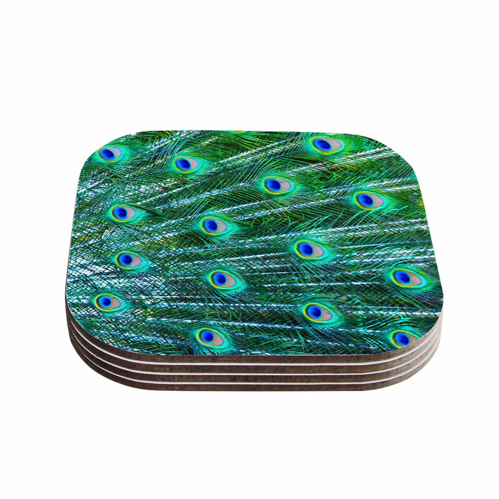 "Susan Sanders ""Teal Blue Peacock Feathers"" Photograph Coasters (Set of 4)"