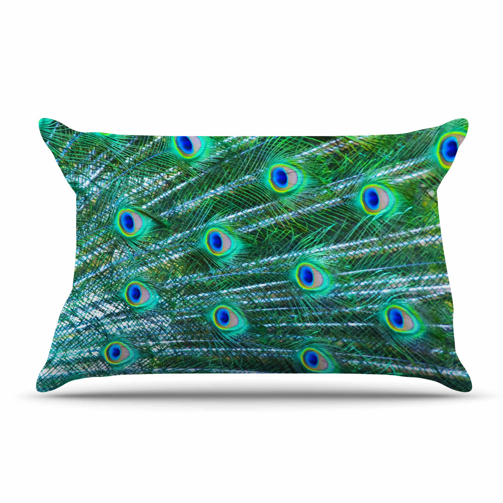 "Susan Sanders ""Teal Blue Peacock Feathers"" Photograph Pillow Sham - KESS InHouse"