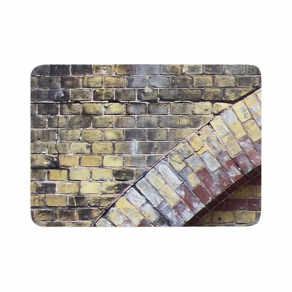 "Susan Sanders ""Painted Grunge Brick Wall"" Grey Yellow Memory Foam Bath Mat - KESS InHouse"