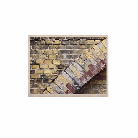 "Susan Sanders ""Painted Grunge Brick Wall"" Grey Yellow KESS Naturals Canvas (Frame not Included) - KESS InHouse  - 1"