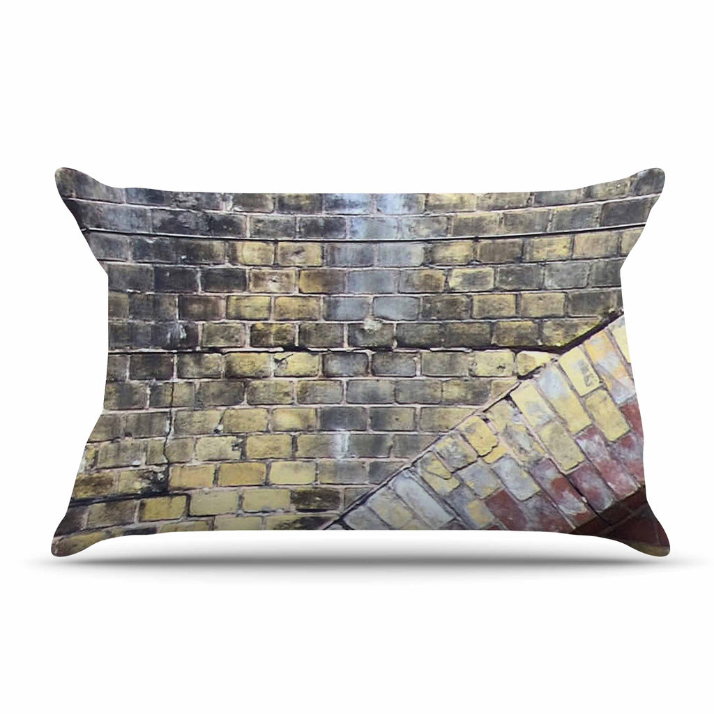 "Susan Sanders ""Painted Grunge Brick Wall"" Grey Yellow Pillow Sham - KESS InHouse"