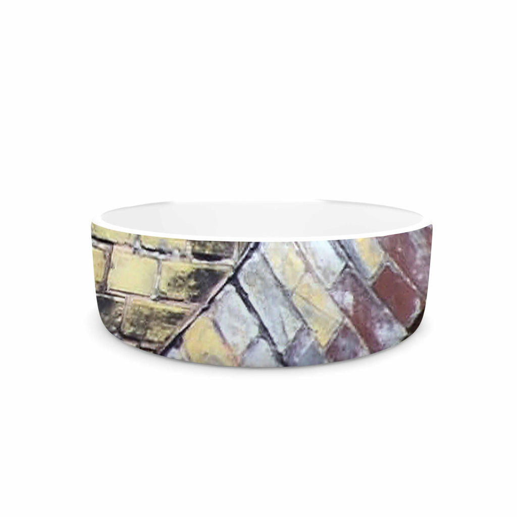 "Susan Sanders ""Painted Grunge Brick Wall"" Grey Yellow Pet Bowl - KESS InHouse"