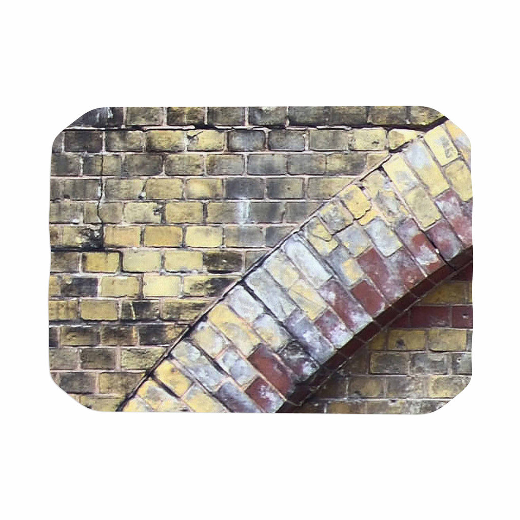 "Susan Sanders ""Painted Grunge Brick Wall"" Grey Yellow Place Mat - KESS InHouse"