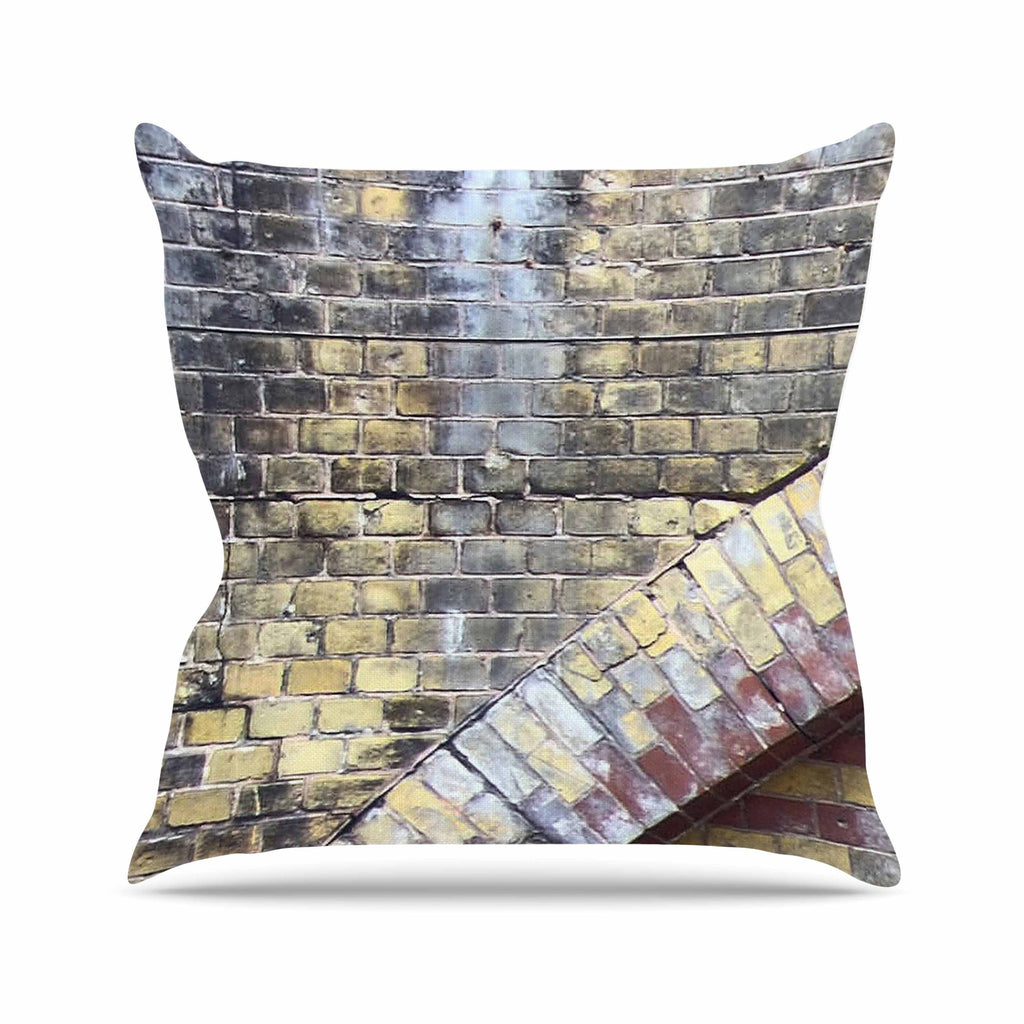 "Susan Sanders ""Painted Grunge Brick Wall"" Grey Yellow Outdoor Throw Pillow - KESS InHouse  - 1"
