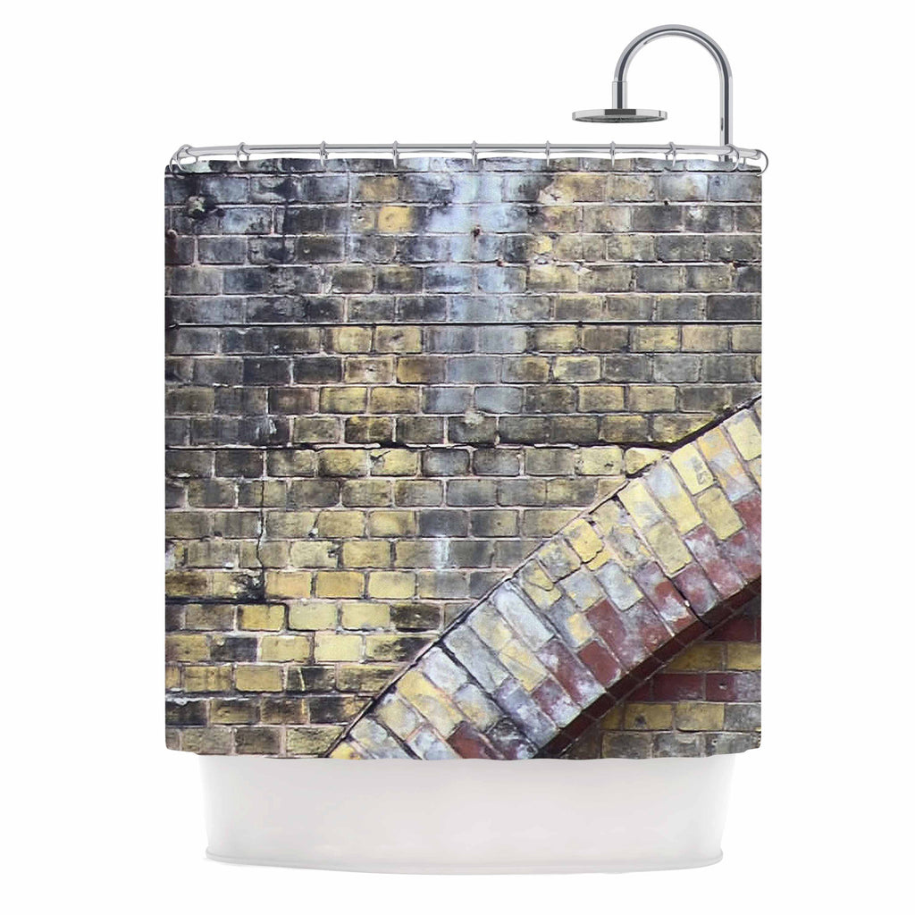 "Susan Sanders ""Painted Grunge Brick Wall"" Grey Yellow Shower Curtain - KESS InHouse"