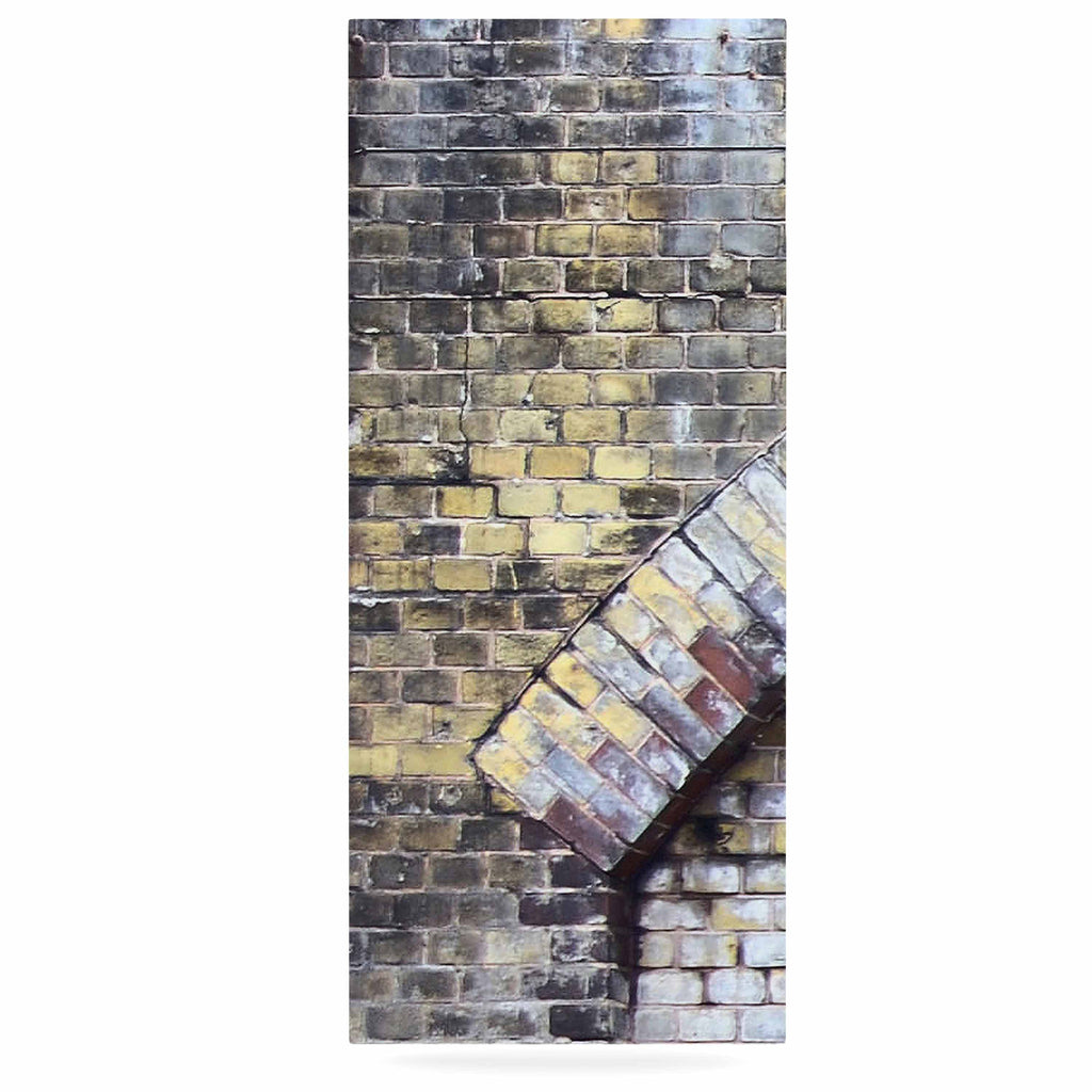 "Susan Sanders ""Painted Grunge Brick Wall"" Grey Yellow Luxe Rectangle Panel - KESS InHouse  - 1"