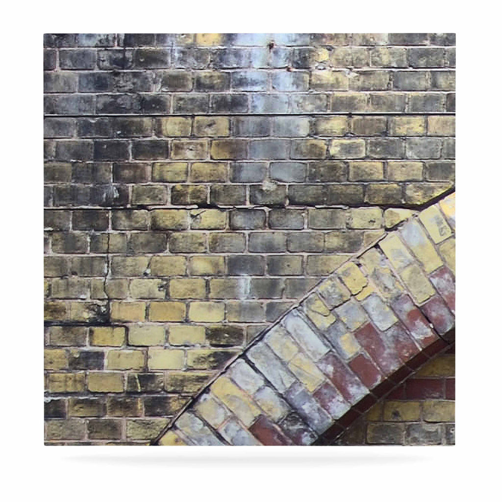 "Susan Sanders ""Painted Grunge Brick Wall"" Grey Yellow Luxe Square Panel - KESS InHouse  - 1"