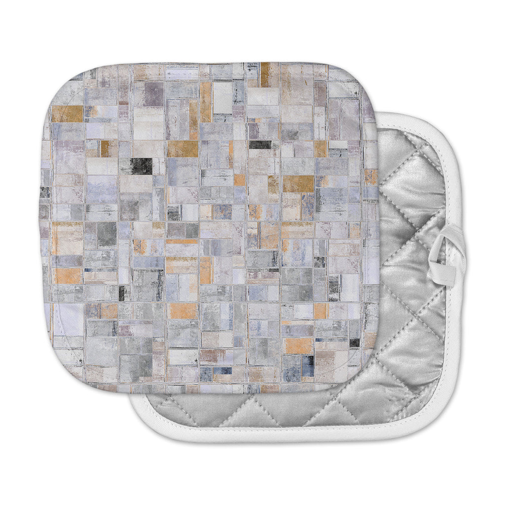 "Susan Sanders ""Gray Tan Tile Squares"" Gray Beige Photography Pot Holder"