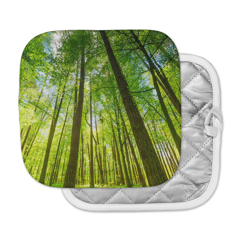 "Susan Sanders ""Green Tree Sky"" Green Brown Photography Pot Holder"