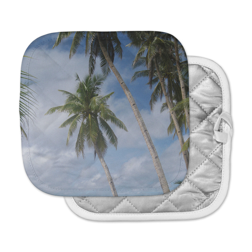 "Susan Sanders ""Blue Sky Ocean Palm Trees"" Blue Green Photography Pot Holder"
