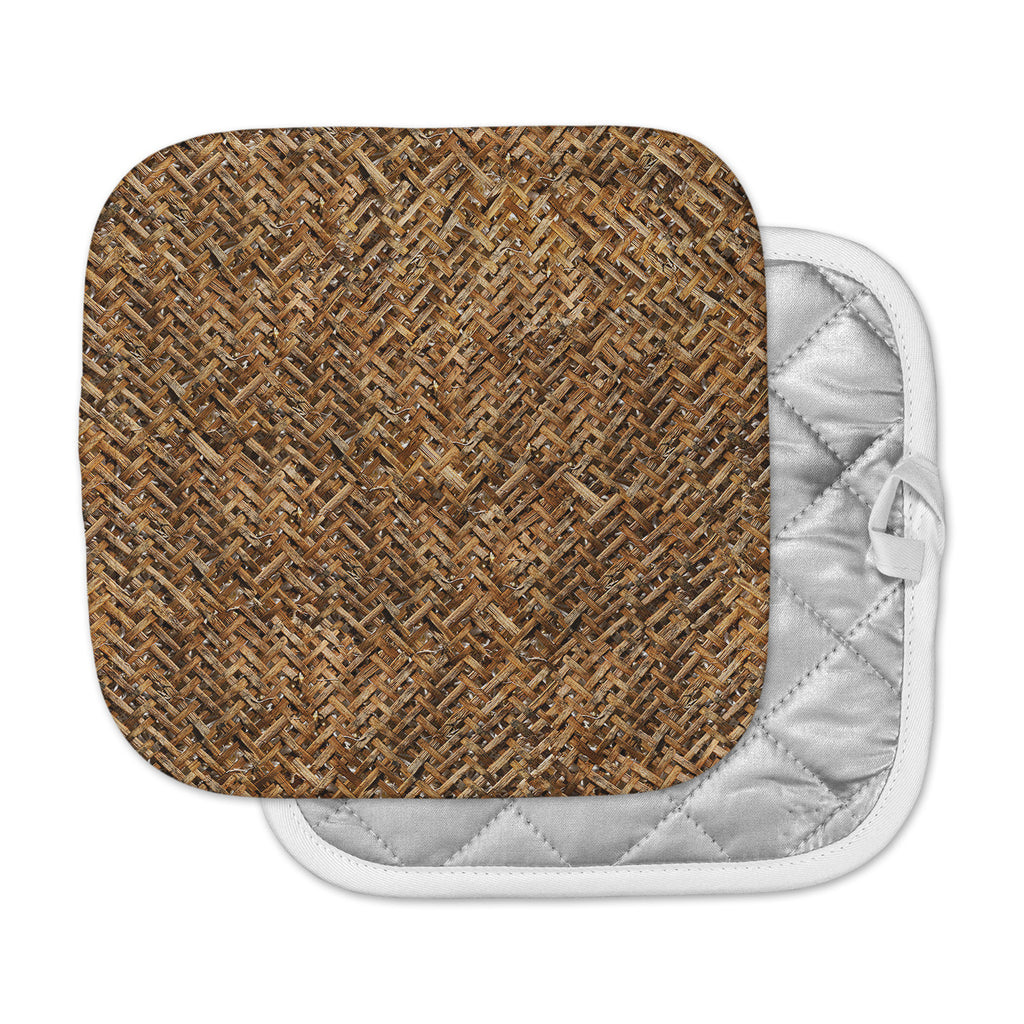 "Susan Sanders ""Brown Bamboo Basket Weave"" Brown Tan Photography Pot Holder"