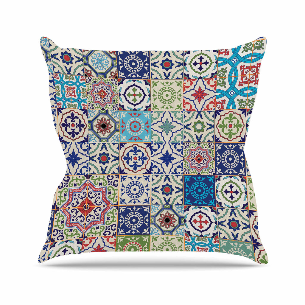 Eclectic Boho Colorful Tile Outdoor Throw Pillow By Susan Sanders