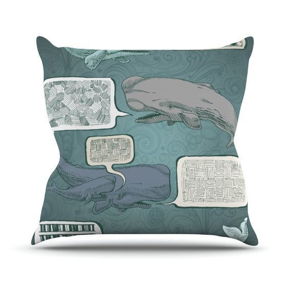 "Sophy Tuttle ""Whale Talk"" Outdoor Throw Pillow - KESS InHouse  - 1"