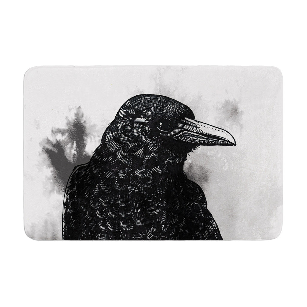 "Sophy Tuttle ""Crow"" Black White Memory Foam Bath Mat - KESS InHouse"