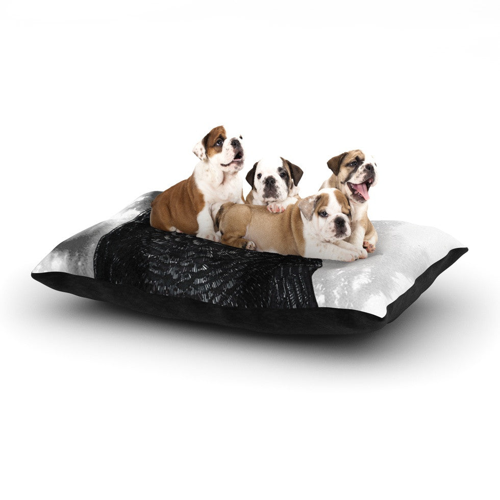 "Sophy Tuttle ""Crow"" Black White Dog Bed - KESS InHouse  - 1"
