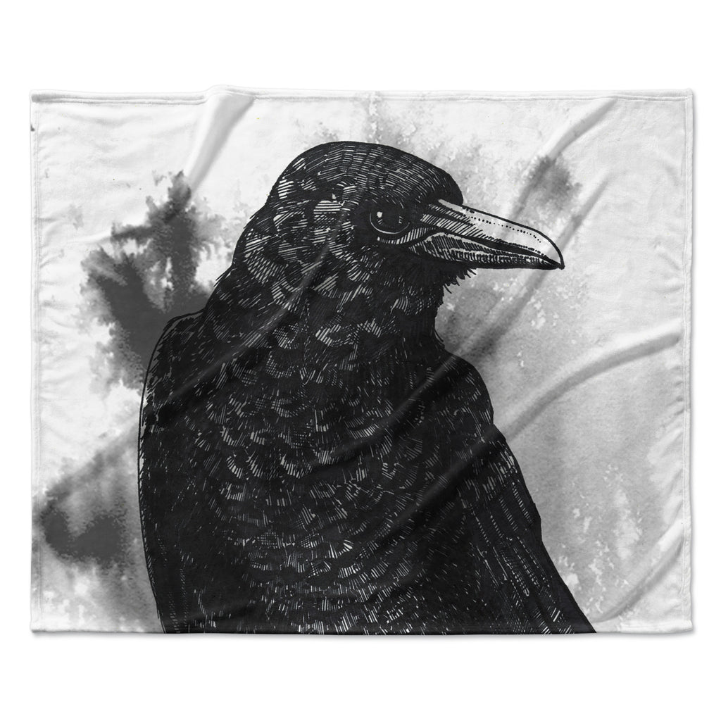 "Sophy Tuttle ""Crow"" Black White Fleece Throw Blanket"